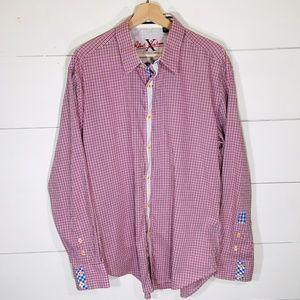 ROBERT GRAHAM Check Pink Plaid Button Shirt XL EUC